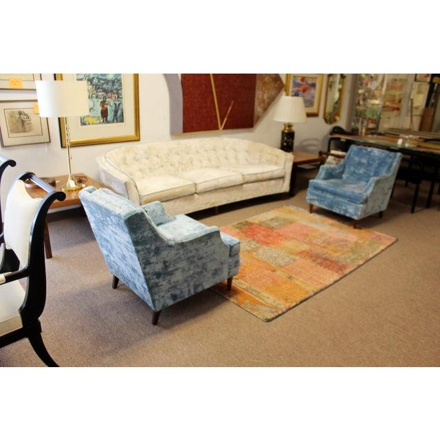 Kroehler Mid Century Modern Kroehler Suite Crushed Velvet Sofa Chairs Set 1950s - Set of 3 For Sale - Image 4 of 10