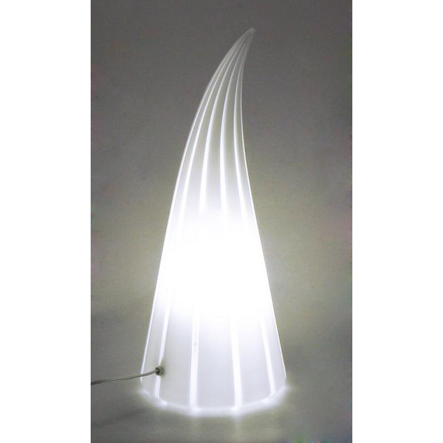 1980s Murano Glass White & Clear Striped Art Glass Lamp For Sale - Image 5 of 6