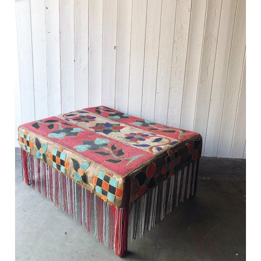 Antique African Yoruba Beaded Ottoman/Coffee Table For Sale In Portland, OR - Image 6 of 9