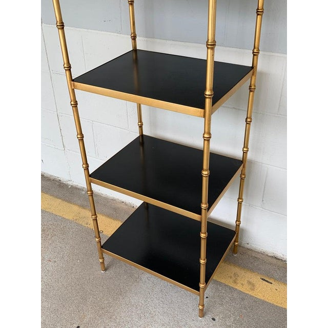 Gilt Metal & Lacquered Faux Bamboo Étagère in the Style of Maison Jansen For Sale - Image 4 of 10