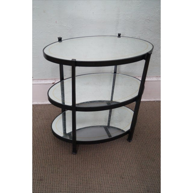 Jonathan Charles Luxe Collection Eglomise & Bronze 3 Tier Side Table AGE/COUNTRY OF ORIGIN: Approx 10 years, Vietnam...