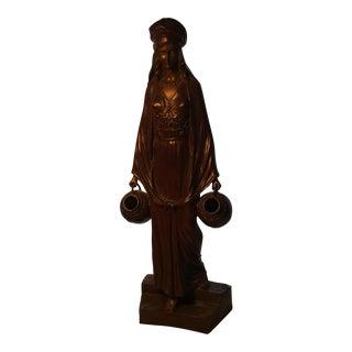 Vintage D Alonzo France Bronze Water Carrier Maiden Sculpture For Sale