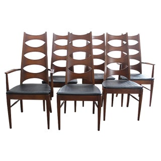 1960s Vintage Kent Coffey Perspecta High Back Cat Eye Dining Room Chairs- Set of 6 For Sale