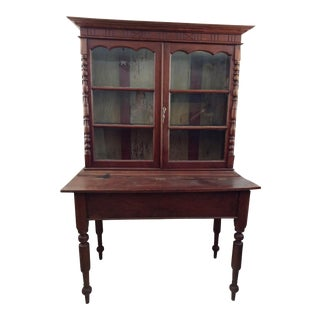 1930's Tropical Plantation Harvest Table Rosewood & Ebony Cabinet