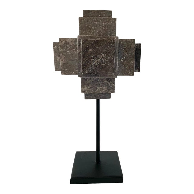 Modern Sculpture Gray Marble Cube on Stand For Sale