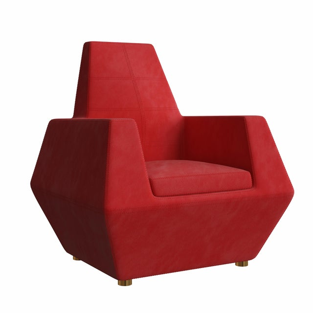 Red Stealth Lounge Chair by Artist Troy Smith - Contemporary Design - Custom Furniture For Sale - Image 8 of 8