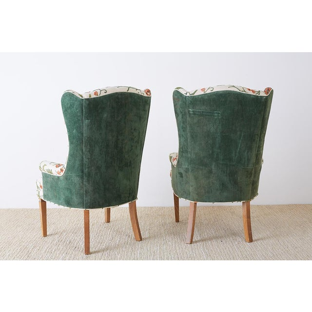 Pair of English Style Crewel Work Wing Chairs For Sale - Image 12 of 13