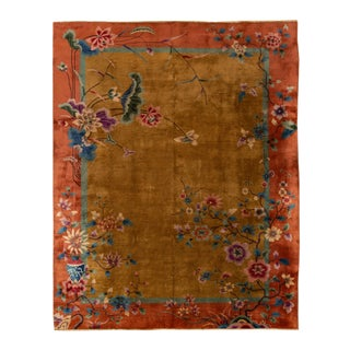"Apadana - Antique Chinese Art Deco Rug, 9' X 11'3"" For Sale"