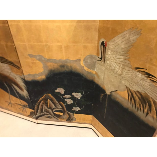 Japanese 18th Century Japanese Byobu Hand Painted Cranes Watercolor Gold Leaf on Paper For Sale - Image 3 of 8