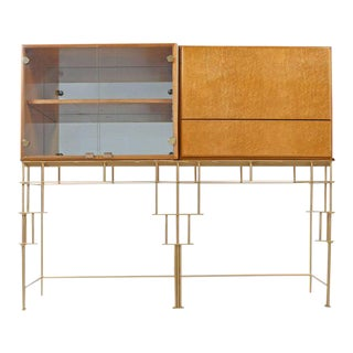 Milo Baughman for Thayer Coggin Maple Bar Cabinets with Custom-Made Metal Base For Sale