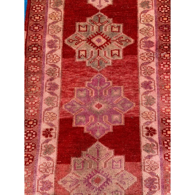 Mid 20th Century Vintage Turkish Oushak Red Runner- 2′10″ × 12′10″ For Sale - Image 5 of 9
