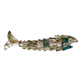 Mid-Century Modern Los Castillo Abalone and Brass Fish Articulated Bottle Opener For Sale