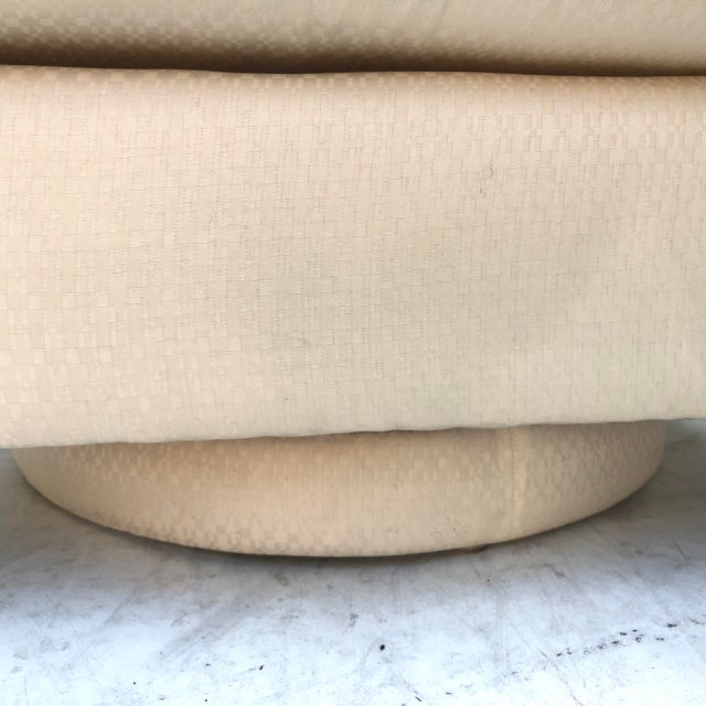 Modern Swivel Club Chair With Matching Pouf Ottoman For Sale - Image 9 of 10