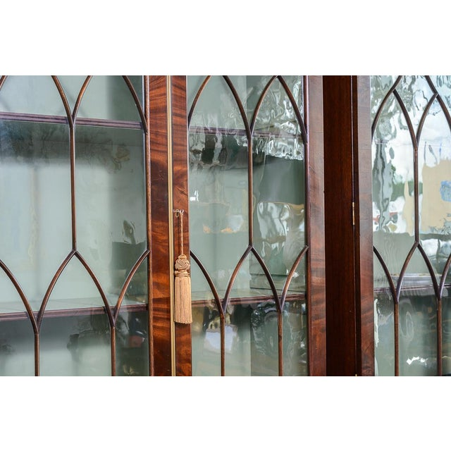 Regency Style Pair of Inlaid Wood Cabinets With Blown Glass Doors For Sale In West Palm - Image 6 of 13