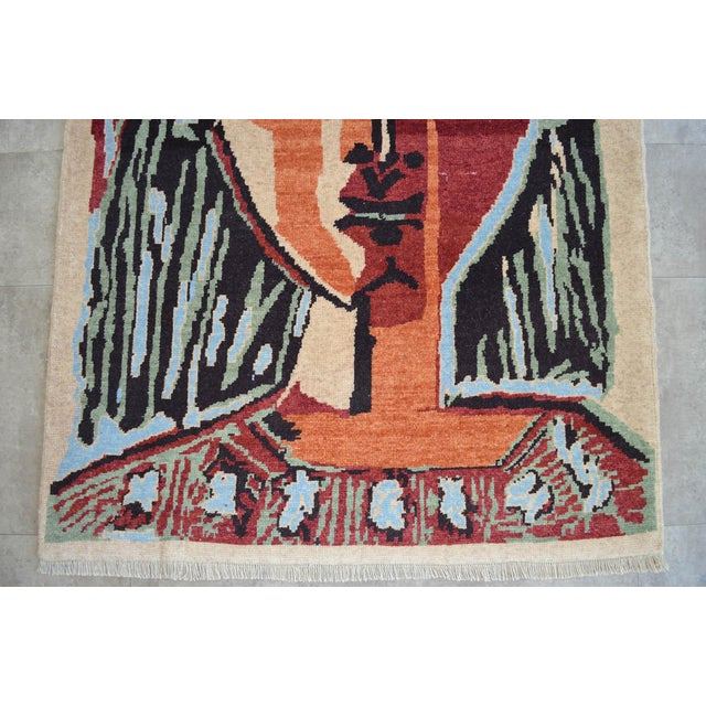 Pablo Picasso - Bust of a Woman - Inspired Hand Knotted Area Rug - Wall Rug 4′ × 5′5″ For Sale In New York - Image 6 of 10