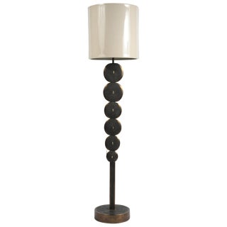 Adjustable Floor Lamp in Black Shagreen and Bronze Patina Brass by R&y Augousti For Sale