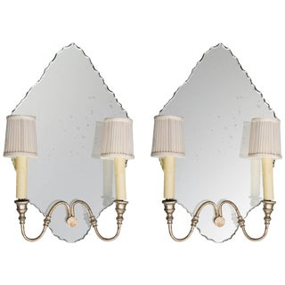 Italian Mirrored Two-Light Sconces - a Pair For Sale