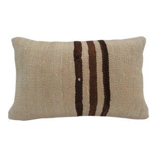 Vintage Handmade Striped Natural Turkish Kilim Pillow Cover For Sale