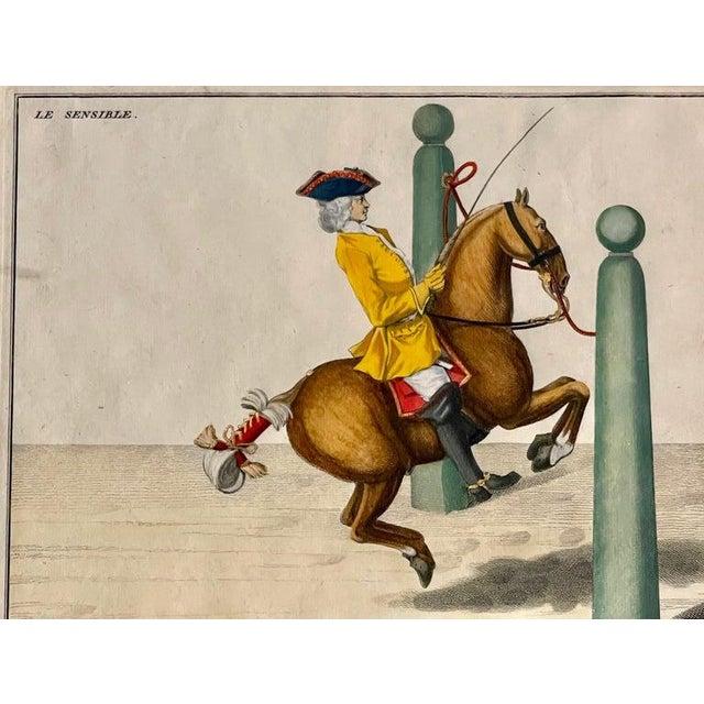 Four Engravings of Horse Riders Le Sensible, Le Royal, Le Conquerant, Le Ballon. Part of a set each in a fine gilt matter...