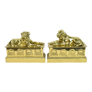 Vintage English Mastiff Brass Figural Fireplace Chenets - A Pair