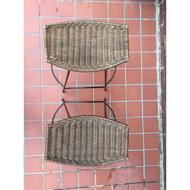 1970s Mid-Century Modern Arthur Umanoff Style Iron and Rattan Barstools - a Pair For Sale In Raleigh - Image 6 of 9