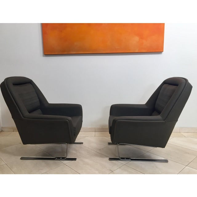 1970s 1970s Modernist Cantilever Club Lounge Chairs by Augusto Bozzi - a Pair For Sale - Image 5 of 12