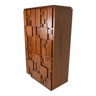 Mid-Century Modern Brutalist Patchwork Walnut Tiles Highboy by Lane For Sale