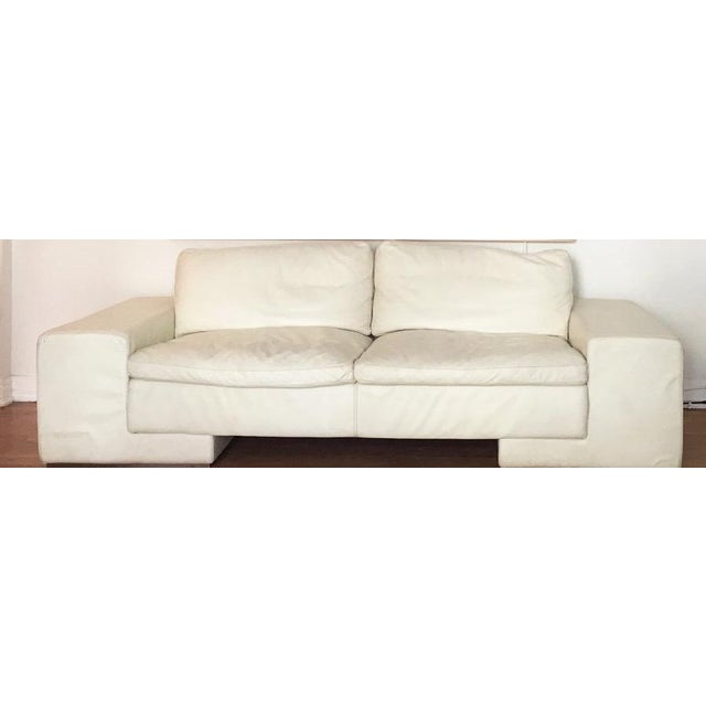 Mid-Century Modern 1950s Vintage Roche Bobois White Leather Sofa For Sale - Image 3 of 7