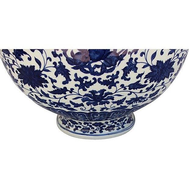Asian Asian Blue & White Chinoiserie Porcelain Vase For Sale - Image 3 of 5