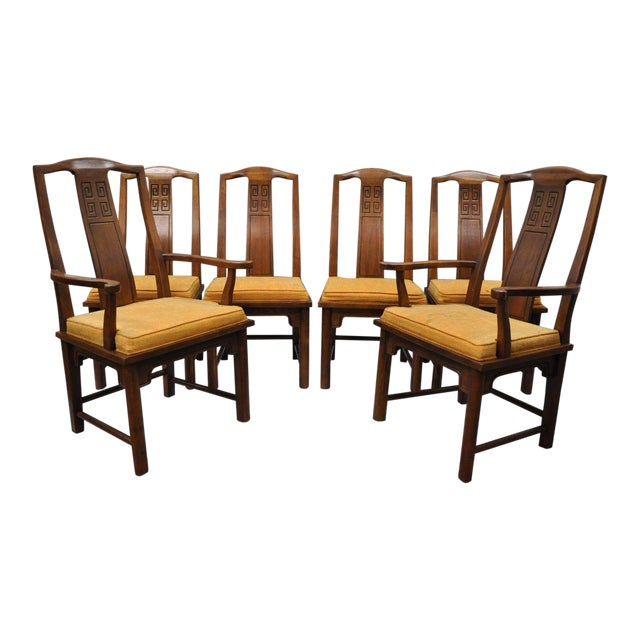 Set of 6 Vintage Oriental James Mont Style Dining Chairs by Century Mid Century Modern For Sale
