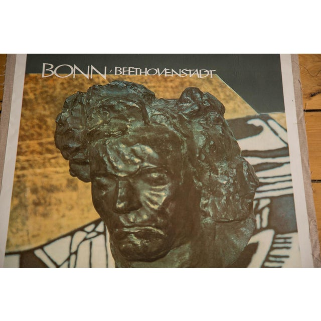 """Vintage 1950s original lithograph poster with photograph of bust sculpture of Beethoven, the famous """"son"""" of Germany, and..."""