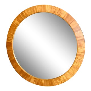 Art Deco Ethan Allen Round Wood Wall Mirror For Sale