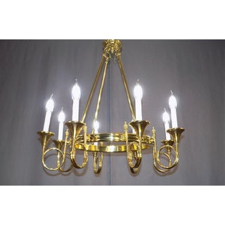 French Empire Style Brass Chandelier With Hunting Horns Preview