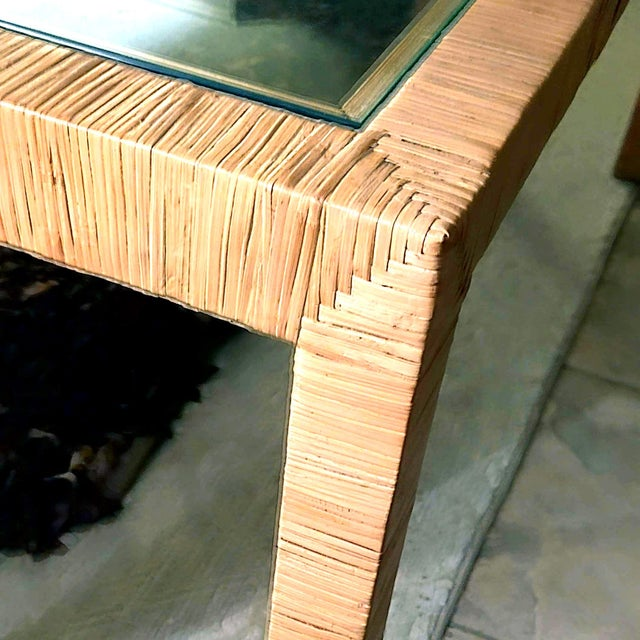 Wicker Bielecky Brothers Wicker Papyrus Reed Wrapped Console Table with Inlaid Glass Top For Sale - Image 7 of 11