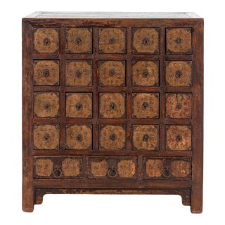 Antique Chinese Lacquered Walnut Apothecary Chest For Sale
