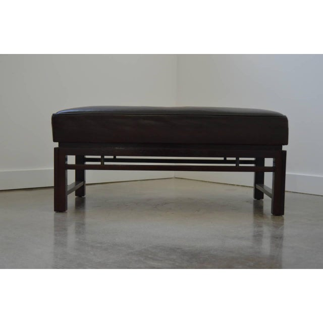 Dunbar Furniture Leather Benches: Edward Wormley for Dunbar 1940s - a Pair For Sale - Image 4 of 10