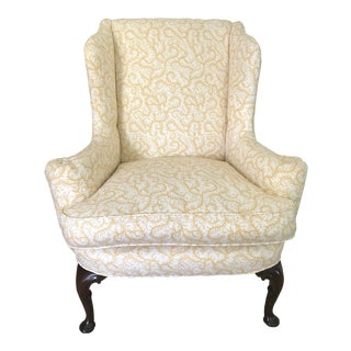 Yellow Queen Anne Wingback Chair