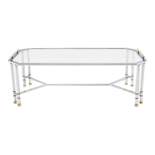 Mid Century Modern Chrome Brass Glass Rectangular Coffee Table For Sale