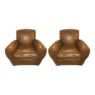 Worn Leather Cabaret Chairs - A Pair For Sale