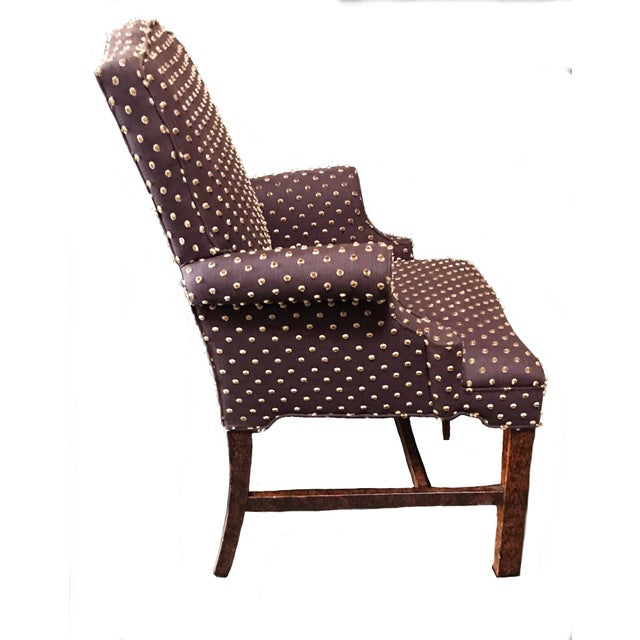 American Brown With Cream Mohair Polka Dots Upholstered Arm Chair For Sale - Image 3 of 7