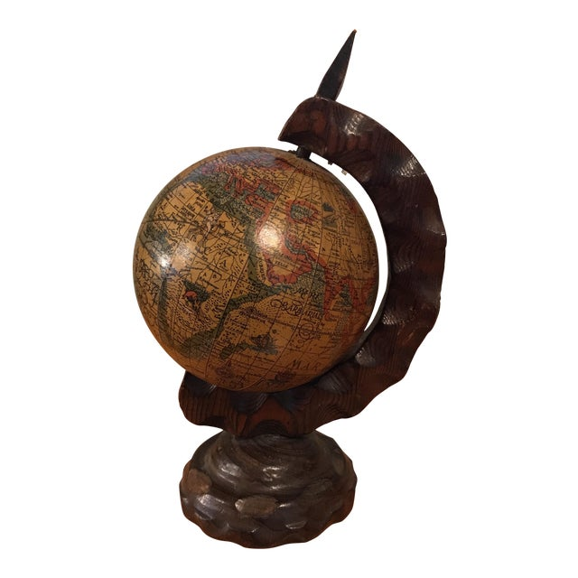 Mini Desktop Globe on Wood Axis For Sale