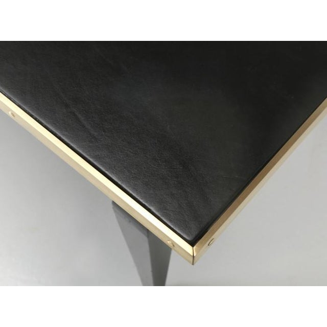 Wood Antique French Black Leather Top Desk For Sale - Image 7 of 12