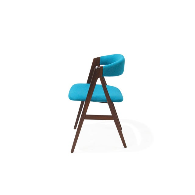 Mid 20th Century Mid Century A-Frame Danish Turquoise Wool Dining Chairs - Set of 4 For Sale - Image 5 of 9