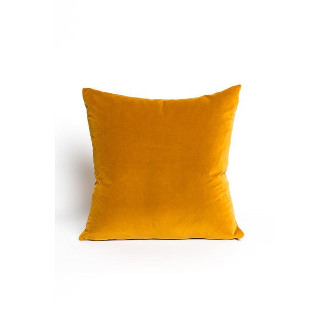 Contemporary Contemporary Curry Gold Velvet Pillow - 22ʺW × 22ʺH For Sale - Image 3 of 3