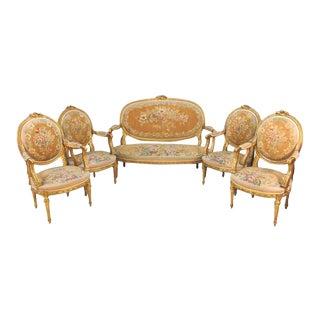 19th Century Louis XVI Style Aubusson Salon / Parlor Set, Settee Four Fauteuils For Sale