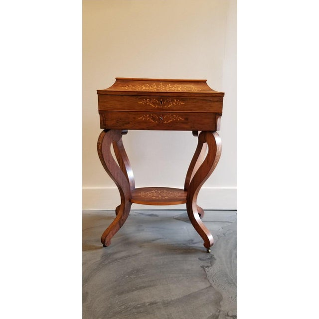 White Charles X Inlaid Rosewood Ladies Vanity, Early 19th Century For Sale - Image 8 of 13