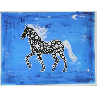 Chinoiserie Abstract Horse Painting by Cleo Plowden For Sale