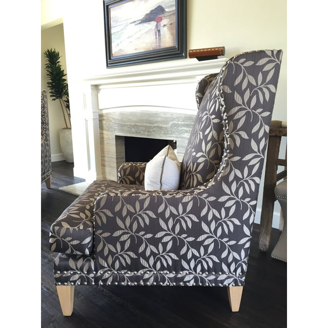 Contemporary Custom Gray Club Chairs - A Pair - Image 5 of 6
