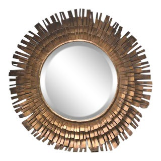 Brutalist Gold Metal Eyelash Sunburst Mirror For Sale