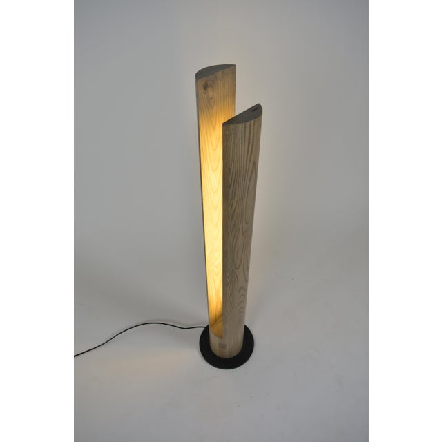OVUUD Ovuud Slot Over-Sized Wooden Column Dowel Led Floor Lamp With Steel Base For Sale - Image 4 of 6